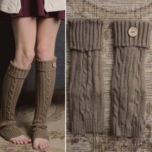 Accessories - MOCHA CABLE KNIT BOOT CUFF with button